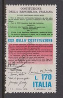 Italy Republic S 1422 1978 30th Anniversary Of Constitution,used - 1971-80: Used