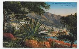 MONACO EN 1938 - N° 11 - LES JARDINS - VUE SUR MONTE CARLO - TIMBRE DECOLLE - CPA COULEUR VOYAGEE - Jardín Exótico