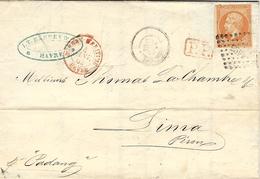 """4-1-62- Lettre """"par Bâtiment De Commerce """" Du Bureau-Maritime Havre Rouge + P.P. Affr. N°16 Oblit. Pc 1495 Pour LIMA - Marcophilie (Lettres)"""