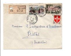AFFRANCHISSEMENT COMPOSE SUR LETTRE RECOMMANDEE DE MARSEILLE SAINT LOUIS 1960 - Marcophilie (Lettres)
