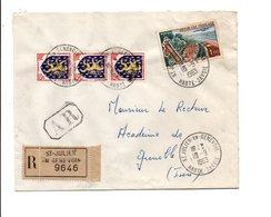 AFFRANCHISSEMENT COMPOSE SUR LETTRE RECOMMANDEE AR DE SAINT JULIEN EN GENEVOIS HAUTE SAVOIE 1963 - Marcophilie (Lettres)