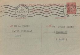 ENTIER CP COMMERCIALE PETAIN 80C YT 512-CP4 - LYON GARE 4/11/41 POUR MAZAMET - Cartes Postales Types Et TSC (avant 1995)