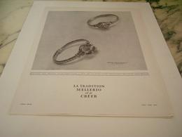 ANCIENNE PUBLICITE TRADITION DE CREER JOAILLIER MELLERIO 1949 - Juwelen & Horloges