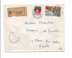 AFFRANCHISSEMENT COMPOSE SUR LETTRE RECOMMANDEE DE LA COTE SAINT ANDRE ISERE 1965 - Marcophilie (Lettres)