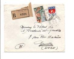 AFFRANCHISSEMENT COMPOSE SUR LETTRE RECOMMANDEE DE SEMEAC HAUTES PYRENEES 1965 - Marcophilie (Lettres)