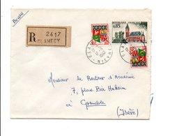 AFFRANCHISSEMENT COMPOSE SUR LETTRE RECOMMANDEE DE CLAMECY NIEVRE 1962 - Marcophilie (Lettres)