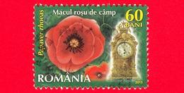 ROMANIA - Usato - 2013 - Fiori - Papaveri (Papaver Rhoeas) - Poppy - Orologio 5 A.m - 60 - 1948-.... Repubbliche
