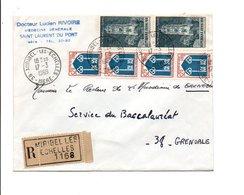 AFFRANCHISSEMENT COMPOSE SUR LETTRE RECOMMANDEE DE MIRIBEL LES ECHELLES ISERE 1969 - Marcophilie (Lettres)