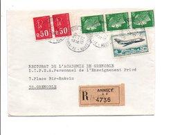 AFFRANCHISSEMENT COMPOSE SUR LETTRE RECOMMANDEE DE ANNECY 1972 - 1961-....