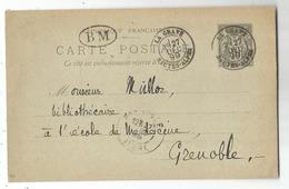 ENTIER SAGE 10C CP TYPE 18 LA GRAVE 27 DEC 1899 HAUTES ALPES + BM + TEXTE MINERAUX - Postmark Collection (Covers)