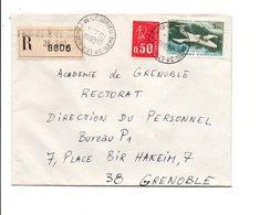 AFFRANCHISSEMENT COMPOSE DE BEQUET SUR LETTRE RECOMMANDEE DE LES ROCHES DE CONDRIEU ISERE 1972 - Marcophilie (Lettres)