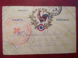 Carte FM Secours Aux Blessés Cantin Bretigny Sur Orge Gare SP 110 Croix Rouge Coq - Postmark Collection (Covers)