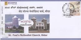 INDIA 2019  St. Pau'ls Methodist Church  Bidar  Special Cover  # 20577   D Inde  Indien - Churches & Cathedrals