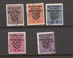 1941  1-5  PORTO OVERPRINT     CROAZIA KROATIEN  USED  LUX - Croazia
