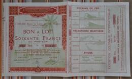 75 PARIS Bon A Lot De 60Frs  EXPOSITION COLONIALE Internationale 1931 - Autres