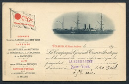 "1899 COMPAGNIE GENERALE TRANSATLANTIQUE ""LA NORMANDIE"" ARRIVES NEW YORK -- LOVELY CARD - Piroscafi"