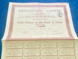 Cie  Générale  Des  ARDOISIÈRES  ALPINES -----Action  Ordinaire  De  100 Frs - Mines