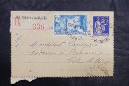 FRANCE - Entier Postal Type Paix + Complément En Recommandé De Semur Pour Beaune En 1938 - L 36068 - Entiers Postaux