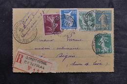 FRANCE - Entier Postal Type Semeuse + Compléments En Recommandé De Clermont Ferrand Pour Digoin En 1926 - L 36069 - Entiers Postaux
