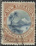 NEW ZEALAND NUOVA ZELANDA 1900 LAKE TAUPO LAGO ONE PENNY 1p USATO USED OBLITERE' - Used Stamps