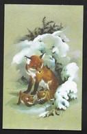 Renard - Fox Fuchs Volpe - Dessin Illustrateur CPSM 2 Volets 10X16 Cm - Animaux & Faune
