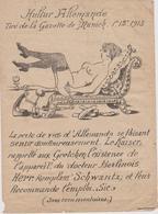 TRES RARE DESSIN PORNOGRAPHIQUE MILITARIA GUERRE 1914 1918 GAZETTE DE MUNICH 1915 PORNO PROPAGANDE FEMME NUE - 1914-18