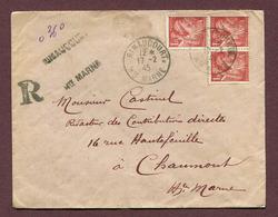 RIMAUCOURT (52) : LETTRE RECOMMANDEE DE FORTUNE 1945 - Poststempel (Briefe)