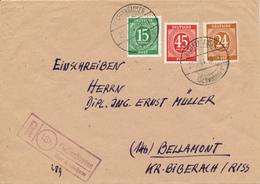 PFAFFENHAUSEN über Mindelheim -  1946 , R-Brief   -  Landpoststempel , Postnebenstempel - Zone AAS