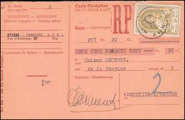 Belgien Zahlkarte HUY 5.8.1952 Mit 933 Weltpostkongress - Belgique
