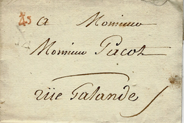 Petite Poste De PARIS -1788 - Lettre En Port Payé  Remise Au Boitier  - /45 Pas De Levée Q 14 - Poststempel (Briefe)