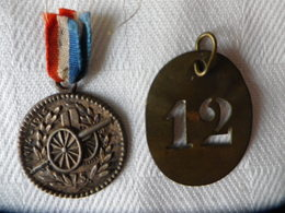 2 Médailles GUERRE 1914/18 -  (1914/1915) - CANON De 75 + N° 12 - Army & War