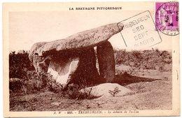 COTES Du NORD - Dépt N° 22 = TREBEURDEN 1934 (année En 2 Chiffres)  = FLAMME DAGUIN ' SEPT / PLAGES ' + CPA DOLMEN 866 - Postmark Collection (Covers)