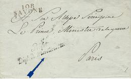 """Sans Date- TERR. CONQUIS - Lettre De 108 / SAVONE (le Montenotte) 29 Mm Noir +"""" Préfet/Dép.t Du Montenotte """" - 1792-1815: Conquered Departments"""