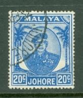Malaya - Johore: 1949/55   Sultan Ibrahim    SG141a    20c   Bright Blue   Used - Johore