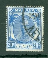 Malaya - Kelantan: 1951/55   Sultan Ibrahim    SG73    20c   Bright Blue   Used - Kelantan