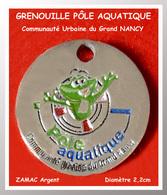 "SUPERBE JETON De CADDIES : GRENOUILLE, PÔLE AQUATIQUE ""NANCY"" Communauté Urbaine ARGENT Verso Neutre - Munten Van Winkelkarretjes"