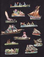 Découpis   Lot De 12    Personnages, Bateaux, Barque, Aviron     Petit Format - Découpis