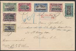 Ruanda-Urundi - N°28 à 34 Sur Lettre Obl BPCVPK N°4 En Recommadé + Postes Milit. (1916) Vers Londres / Guerre 14-18 - Ruanda-Urundi