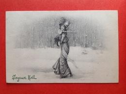 1910 - V.K. VIENNE - 5100 - JOYEUX NOEL - FEMME DANS LA NEIGE - DAME IN DE SNEEUW - Vienne