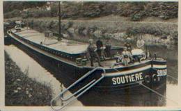 Photo-carte « Péniche SOUTIERE » Postée à LUTTRE En 1931 Vers COURCELLES - Belgique