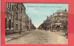ESTAIRES 1933 GRAND RUE VERS LA PORTE DU MOULIN CARTE EN TRES BON ETAT - Francia