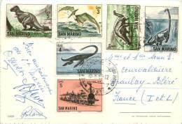 SERIE TIMBRES SAINT MARIN ANIMAUX PREHISTORIQUE SUR CARTE POSTALE - Lettres & Documents