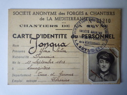 2019 - 1846  Chantiers De  LA SEYNE  :  Carte D'identité Du Personnel  (Yvan Salva JONQUA)  - Old Paper