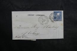 FRANCE - Type Sage Perforé D'un Triangle Sur Lettre Commerciale De Chalon / Saône Pour Nolay En 1878 - L 36082 - Perforés
