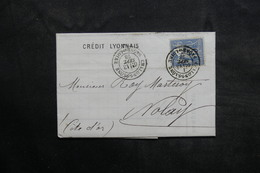 FRANCE - Type Sage Perforé D'un Triangle Sur Lettre Commerciale De Chalon / Saône Pour Nolay En 1878 - L 36083 - Perforés