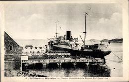 Cp Saint Pierre Et Miquelon, Steamer Dominica De La Furness Red Cross Line - Guyane