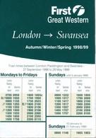 Grossbritannien Eisenbahn First Great Western Fahrplan 1998/1999 London - Swansea - Europa