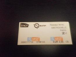 Titre De Transport SNCF SARTROUVILLE PARIS - Bus
