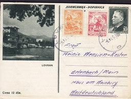 Yugoslavia Uprated Postal Stationery Ganzsache Entier LOVRAN Bildpostkarte LOVRAN 1953 ERLENBACH Germany (2 Scans) - Postal Stationery