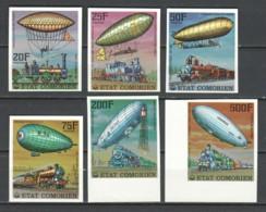 Comores 1977 Mi 339-344B MNH ZEPPELIN - TRAINS - Trains
